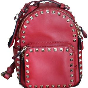 VALENTINO MINI ROCKSTUD, RED LEATHER BACKPACK